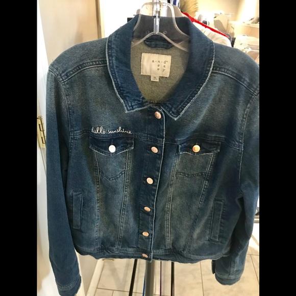 "eed99fbd9 ""Hello Sunshine"" Embroidered Denim Jacket"